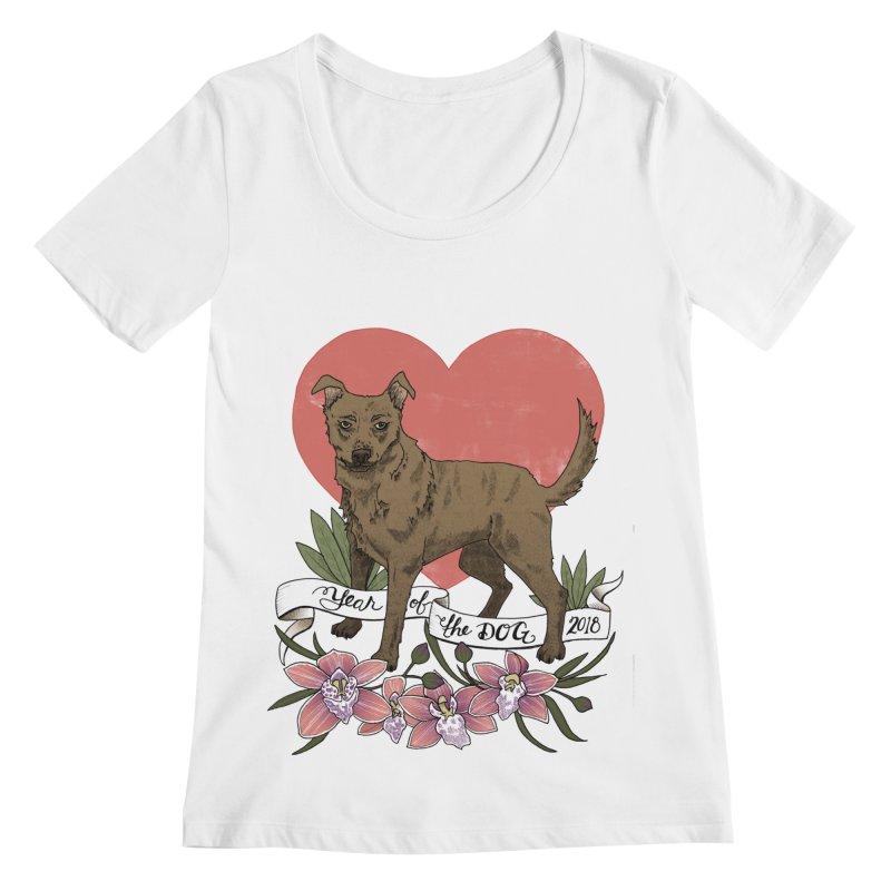 Year of the Dog Women's Regular Scoop Neck by mwashburnart's Artist Shop
