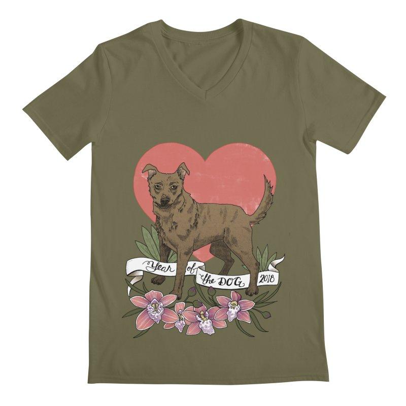Year of the Dog Men's Regular V-Neck by mwashburnart's Artist Shop
