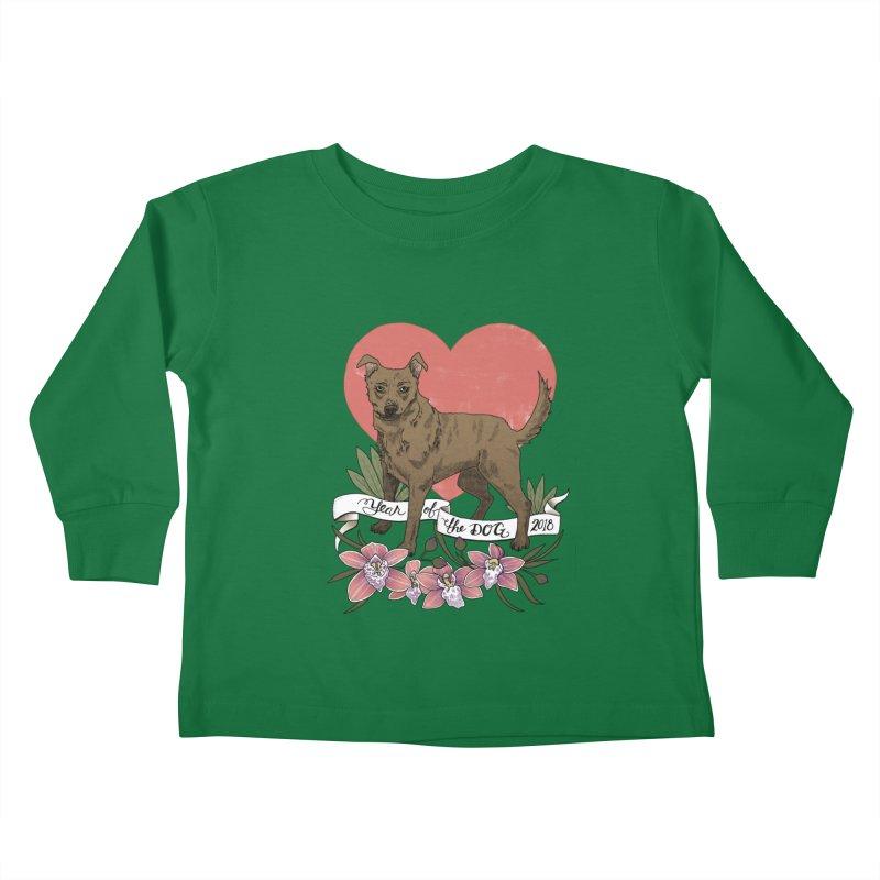 Year of the Dog Kids Toddler Longsleeve T-Shirt by mwashburnart's Artist Shop