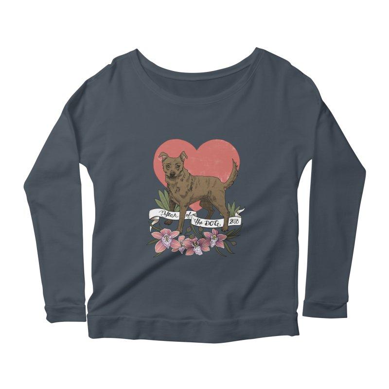 Year of the Dog Women's Scoop Neck Longsleeve T-Shirt by mwashburnart's Artist Shop