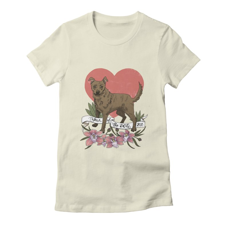 Year of the Dog Women's Fitted T-Shirt by mwashburnart's Artist Shop
