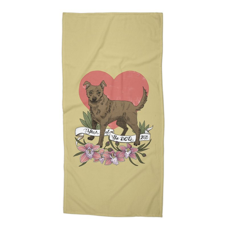 Year of the Dog Accessories Beach Towel by mwashburnart's Artist Shop