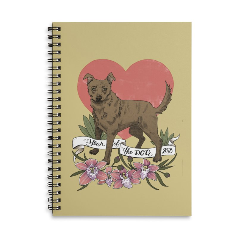 Year of the Dog Accessories Lined Spiral Notebook by mwashburnart's Artist Shop