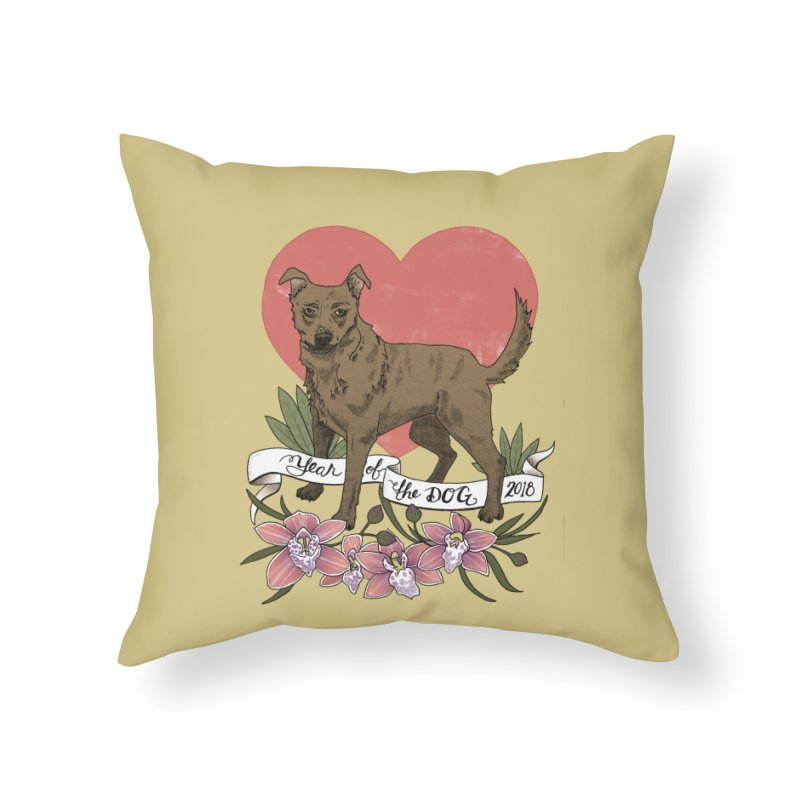 Year of the Dog Home Throw Pillow by mwashburnart's Artist Shop