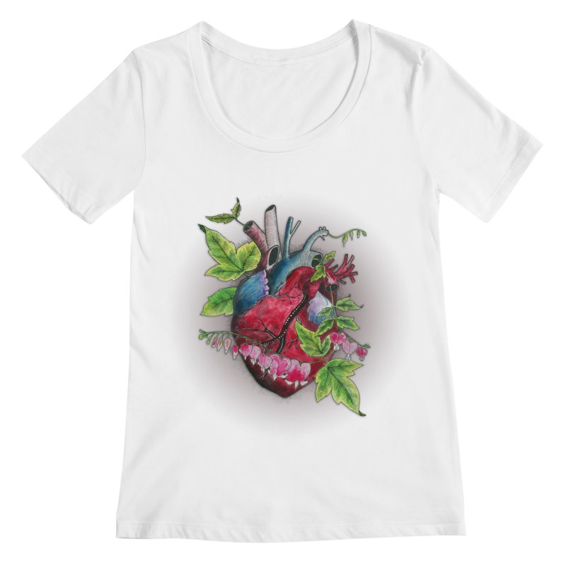 Open Hearted Women's Regular Scoop Neck by mwashburnart's Artist Shop