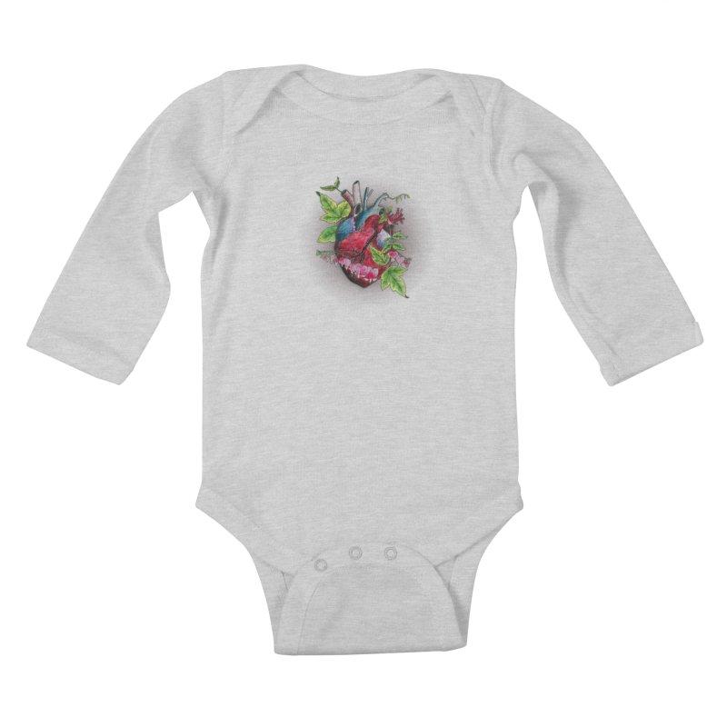 Open Hearted Kids Baby Longsleeve Bodysuit by mwashburnart's Artist Shop