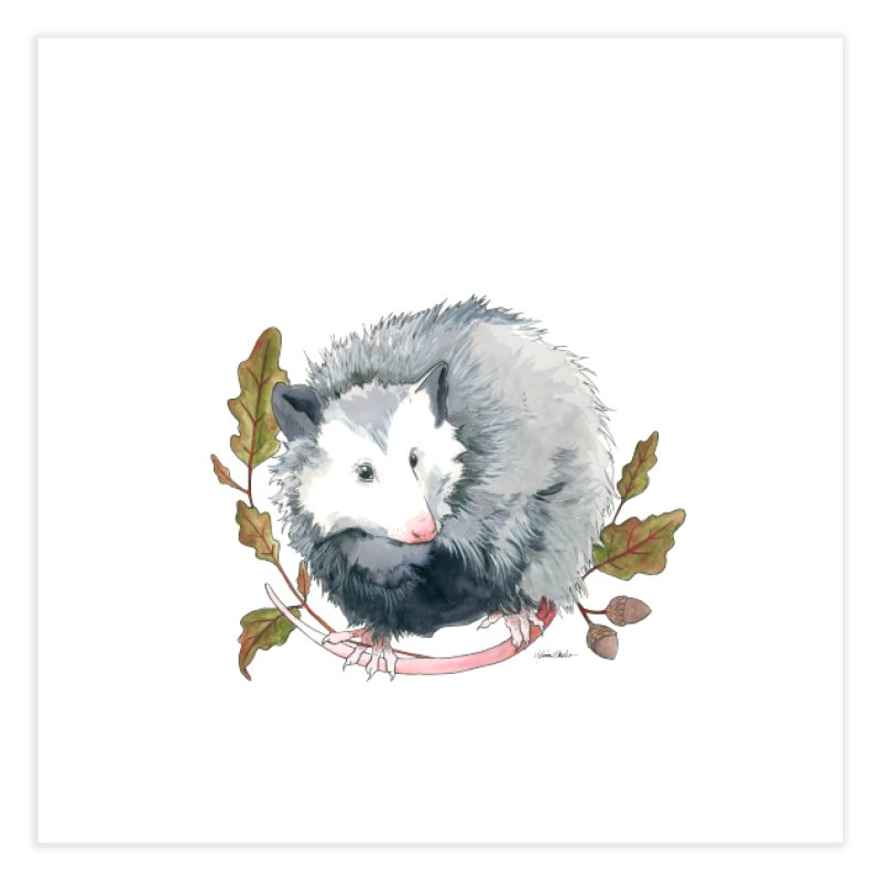 Possum and Oak Leaves Home Fine Art Print by mwashburnart's Artist Shop