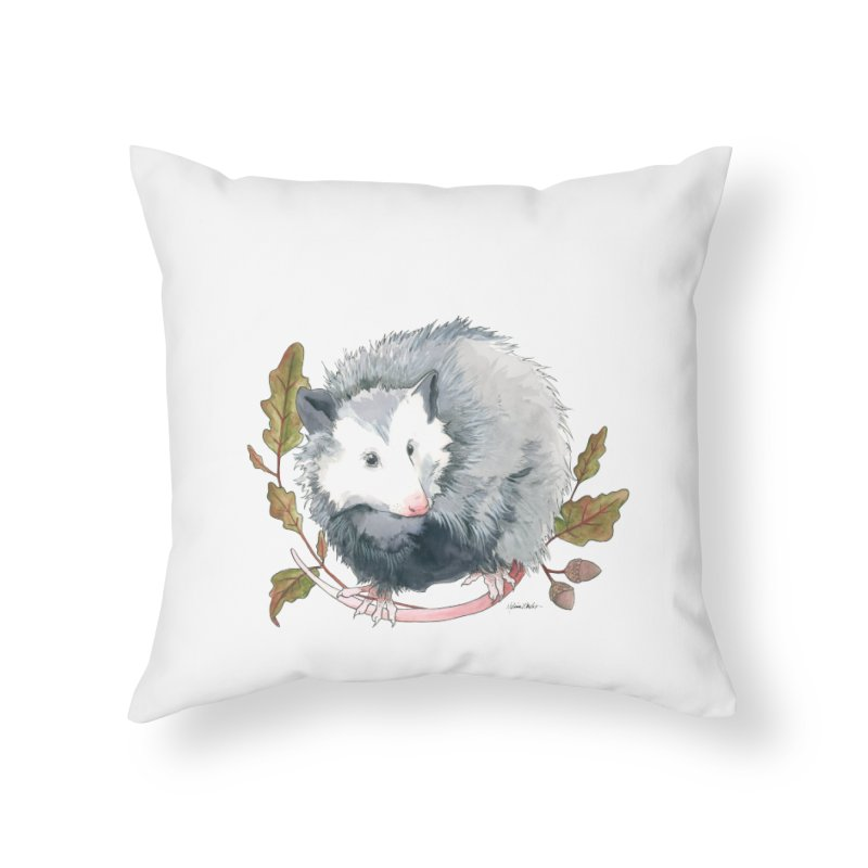 Possum and Oak Leaves Home Throw Pillow by mwashburnart's Artist Shop
