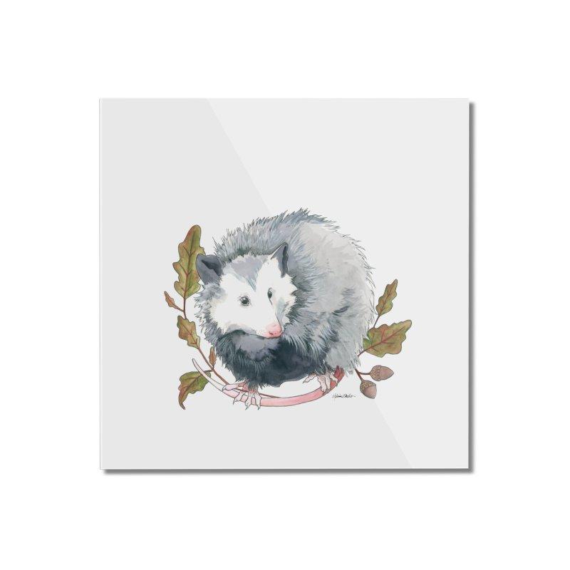 Possum and Oak Leaves Home Mounted Acrylic Print by mwashburnart's Artist Shop