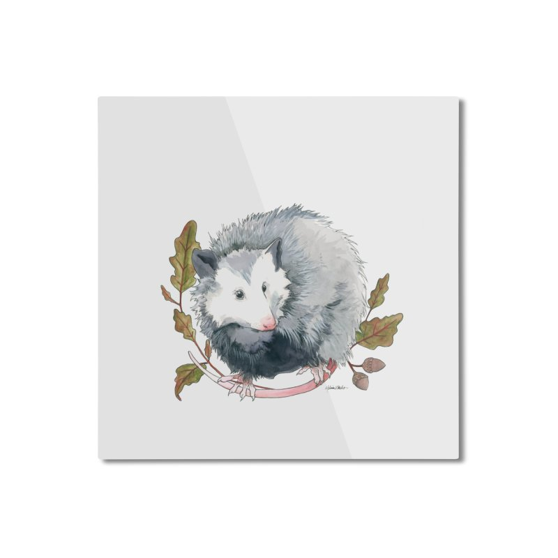 Possum and Oak Leaves Home Mounted Aluminum Print by mwashburnart's Artist Shop