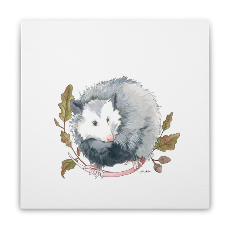Possum and Oak Leaves Home Stretched Canvas by mwashburnart's Artist Shop