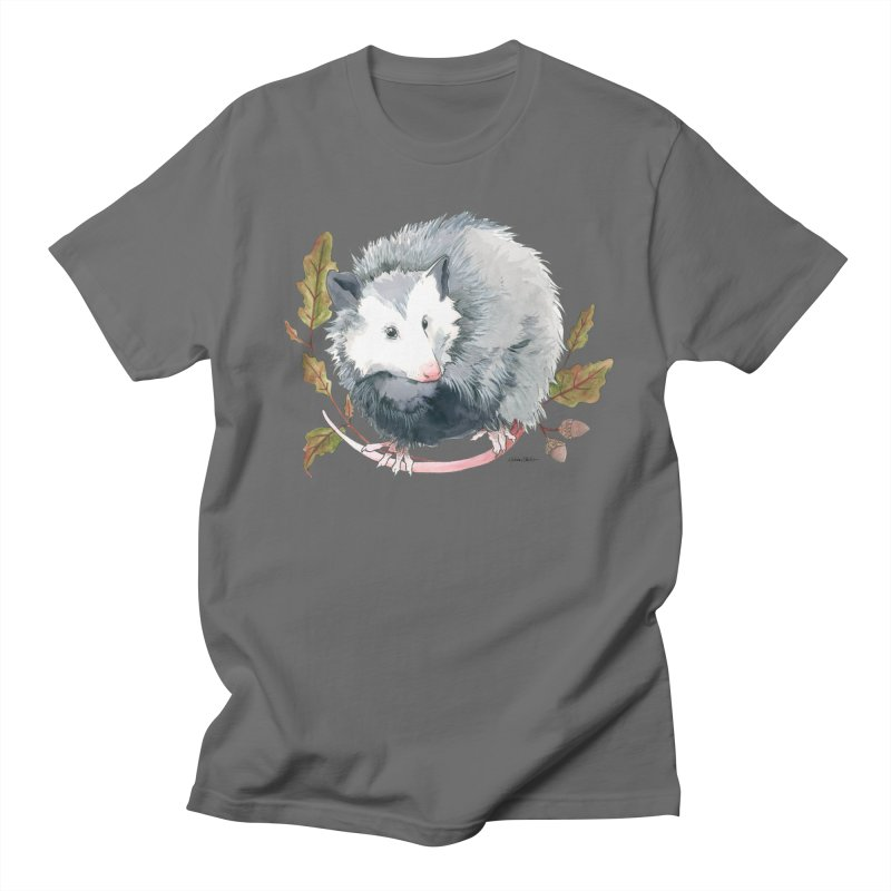 Possum and Oak Leaves in Men's Regular T-Shirt Asphalt by mwashburnart's Artist Shop
