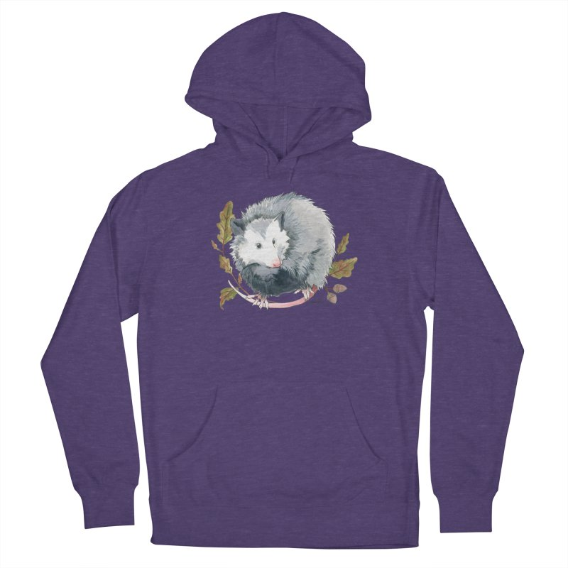 Possum and Oak Leaves Men's French Terry Pullover Hoody by mwashburnart's Artist Shop