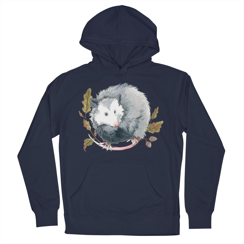 Possum and Oak Leaves Women's French Terry Pullover Hoody by mwashburnart's Artist Shop