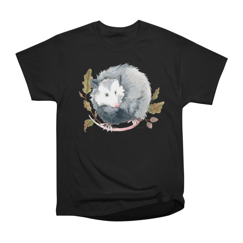 Possum and Oak Leaves Men's Heavyweight T-Shirt by mwashburnart's Artist Shop
