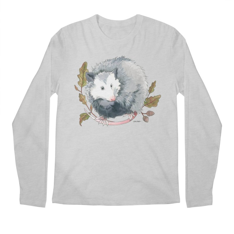Possum and Oak Leaves Men's Regular Longsleeve T-Shirt by mwashburnart's Artist Shop