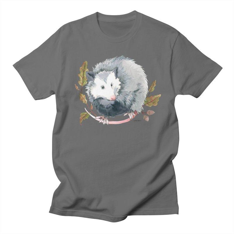 Possum and Oak Leaves in Men's T-Shirt Asphalt by mwashburnart's Artist Shop