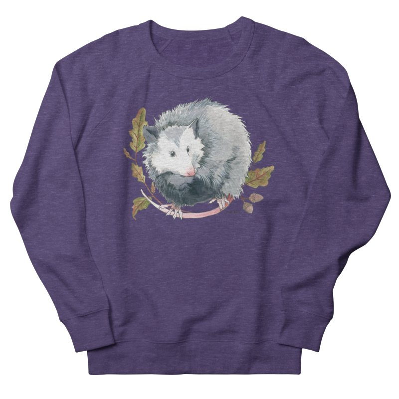 Possum and Oak Leaves Women's French Terry Sweatshirt by mwashburnart's Artist Shop