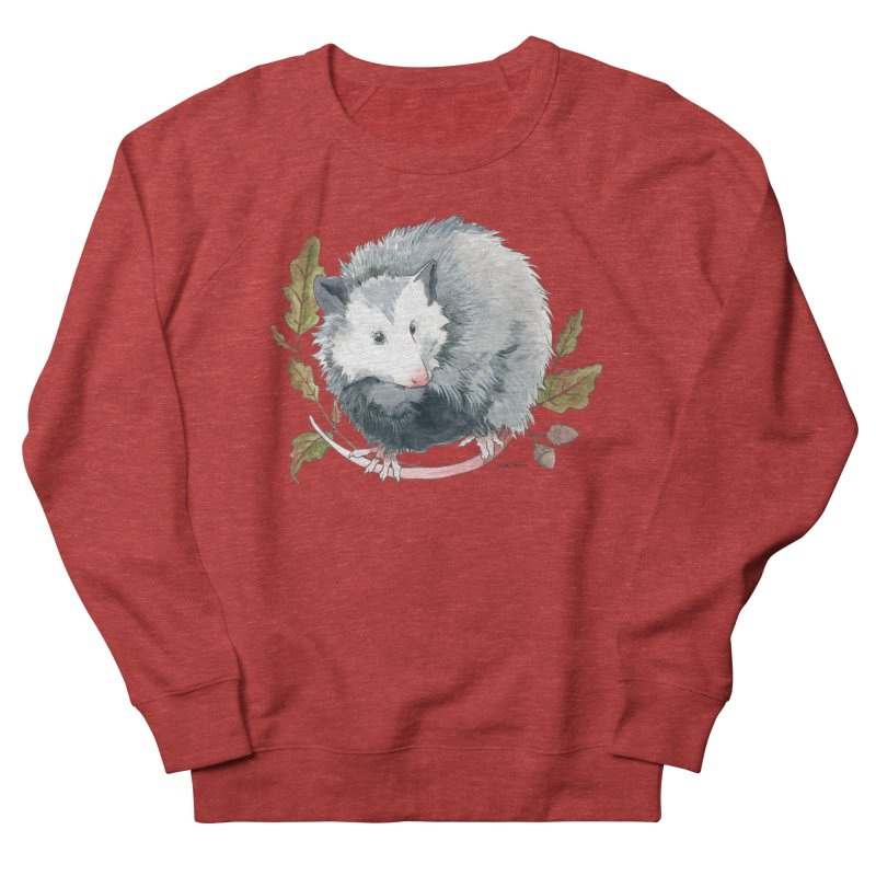Possum and Oak Leaves Women's French Terry Sweatshirt by mwashburnart's Artist Shop