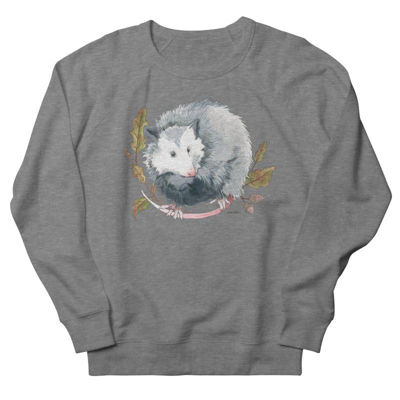 Possum and Oak Leaves Men's French Terry Sweatshirt by mwashburnart's Artist Shop