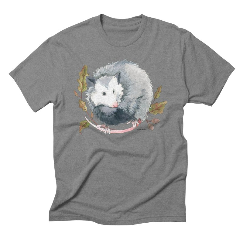 Possum and Oak Leaves Men's Triblend T-Shirt by mwashburnart's Artist Shop