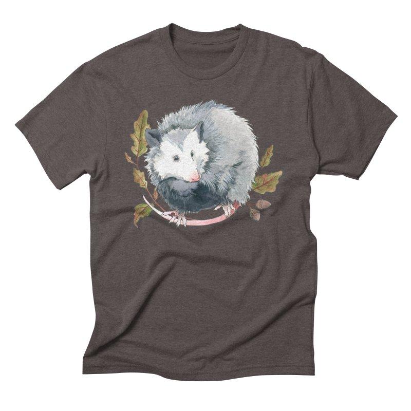 Possum and Oak Leaves Men's Triblend T-Shirt by mwashburnart's Artist Shop
