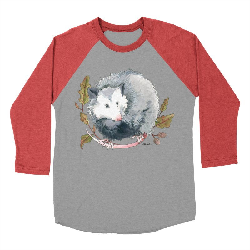 Possum and Oak Leaves Women's Baseball Triblend Longsleeve T-Shirt by mwashburnart's Artist Shop