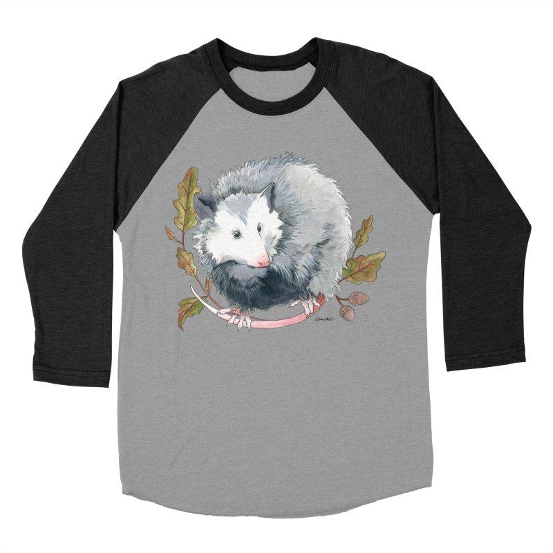 Possum and Oak Leaves Men's Baseball Triblend Longsleeve T-Shirt by mwashburnart's Artist Shop