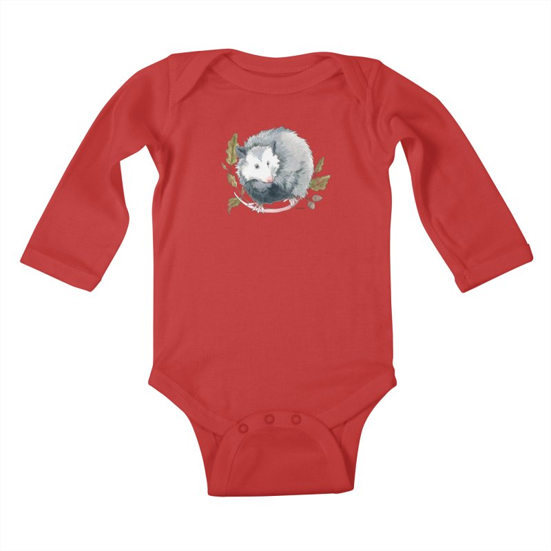 Possum and Oak Leaves Kids Baby Longsleeve Bodysuit by mwashburnart's Artist Shop