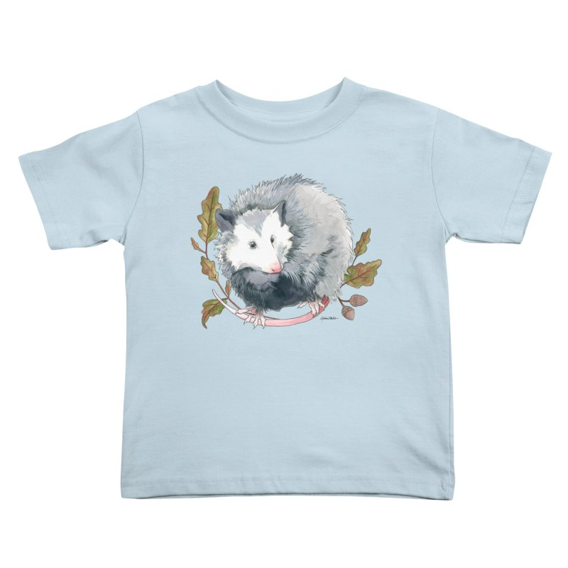 Possum and Oak Leaves Kids Toddler T-Shirt by mwashburnart's Artist Shop