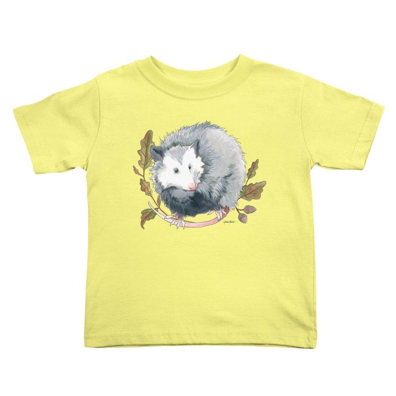 Possum and Oak Leaves Kids Toddler T-Shirt by mwashburnart's Artist Shop