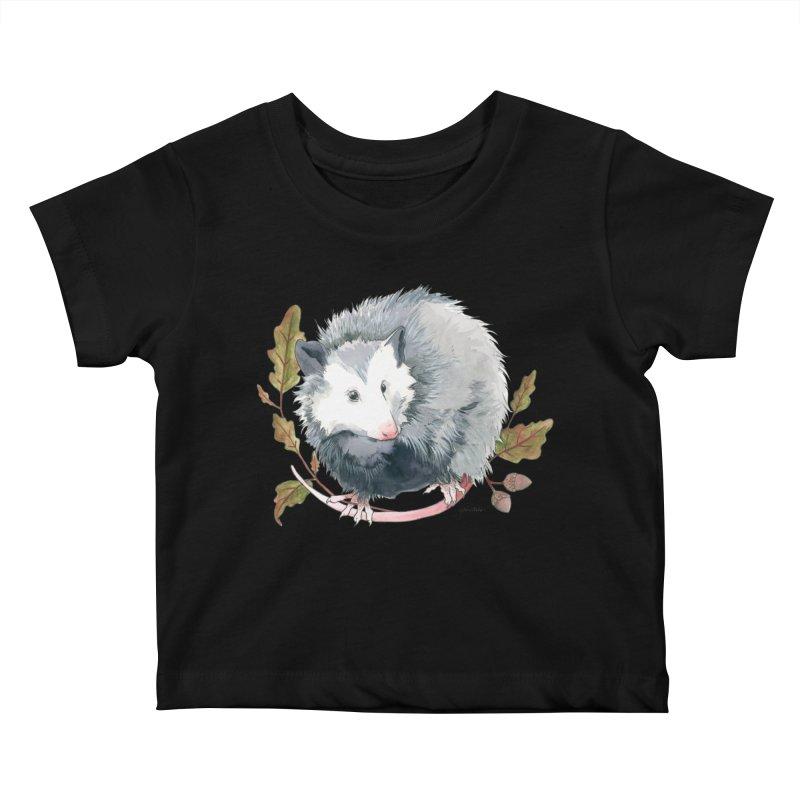 Possum and Oak Leaves Kids Baby T-Shirt by mwashburnart's Artist Shop