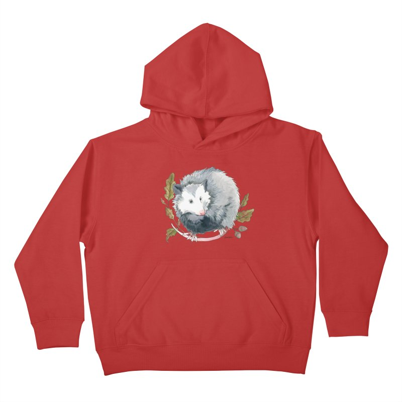 Possum and Oak Leaves Kids Pullover Hoody by mwashburnart's Artist Shop