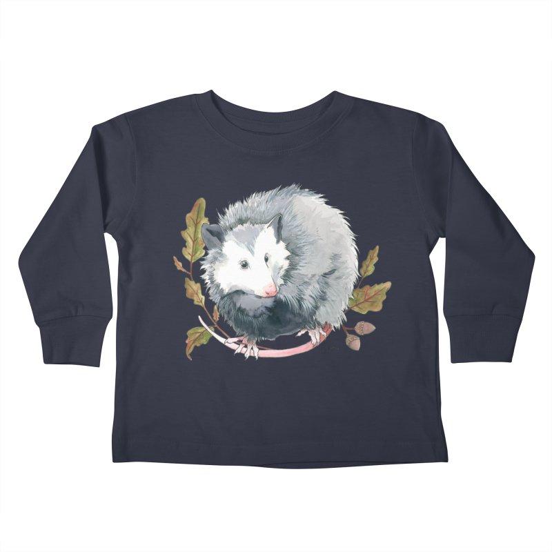 Possum and Oak Leaves Kids Toddler Longsleeve T-Shirt by mwashburnart's Artist Shop