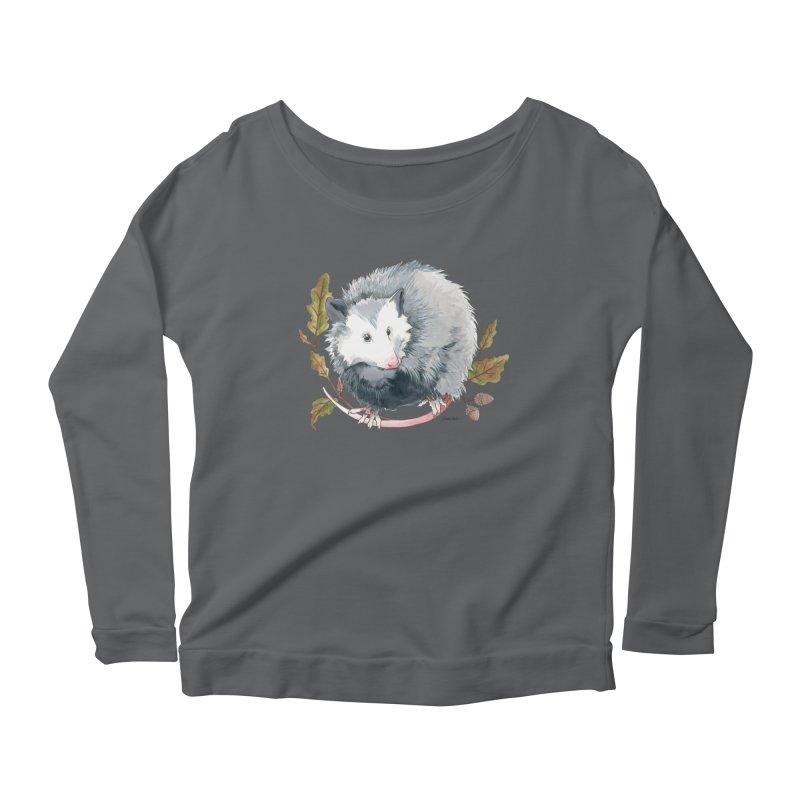 Possum and Oak Leaves Women's Scoop Neck Longsleeve T-Shirt by mwashburnart's Artist Shop
