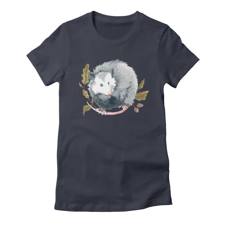 Possum and Oak Leaves Women's Fitted T-Shirt by mwashburnart's Artist Shop
