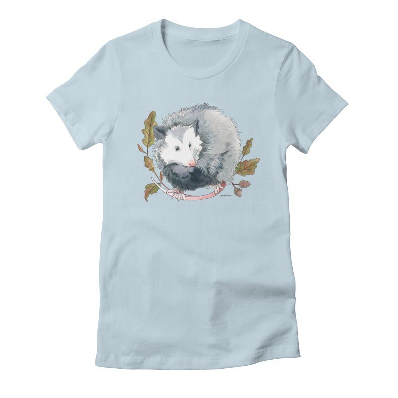 Possum and Oak Leaves Women's Fitted T-Shirt by mwashburnart's Artist Shop