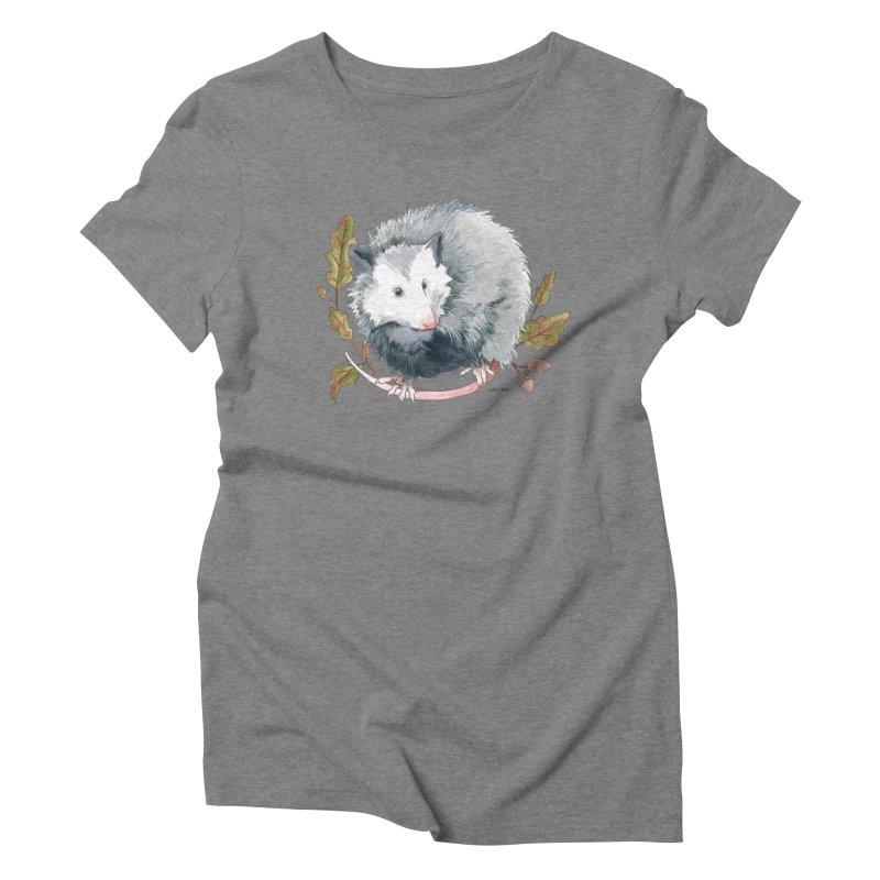 Possum and Oak Leaves Women's Triblend T-Shirt by mwashburnart's Artist Shop