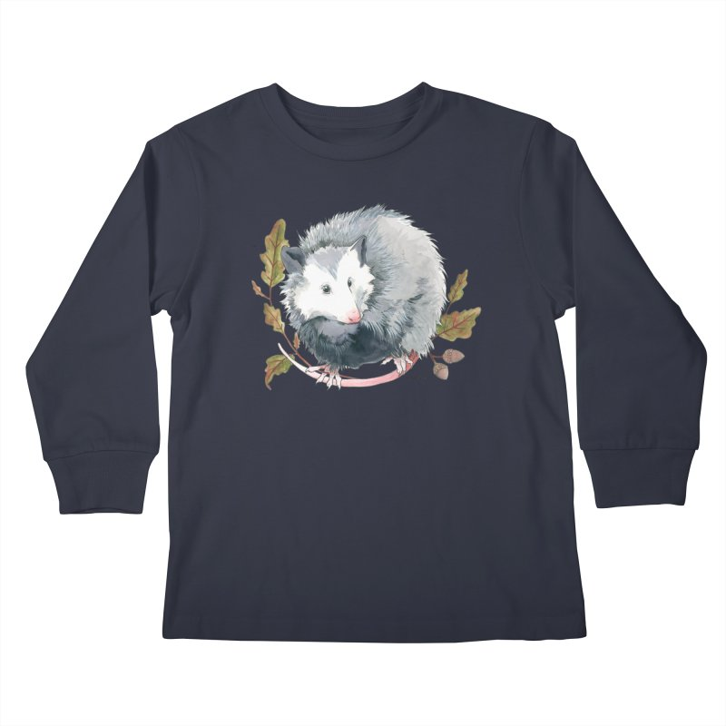 Possum and Oak Leaves Kids Longsleeve T-Shirt by mwashburnart's Artist Shop