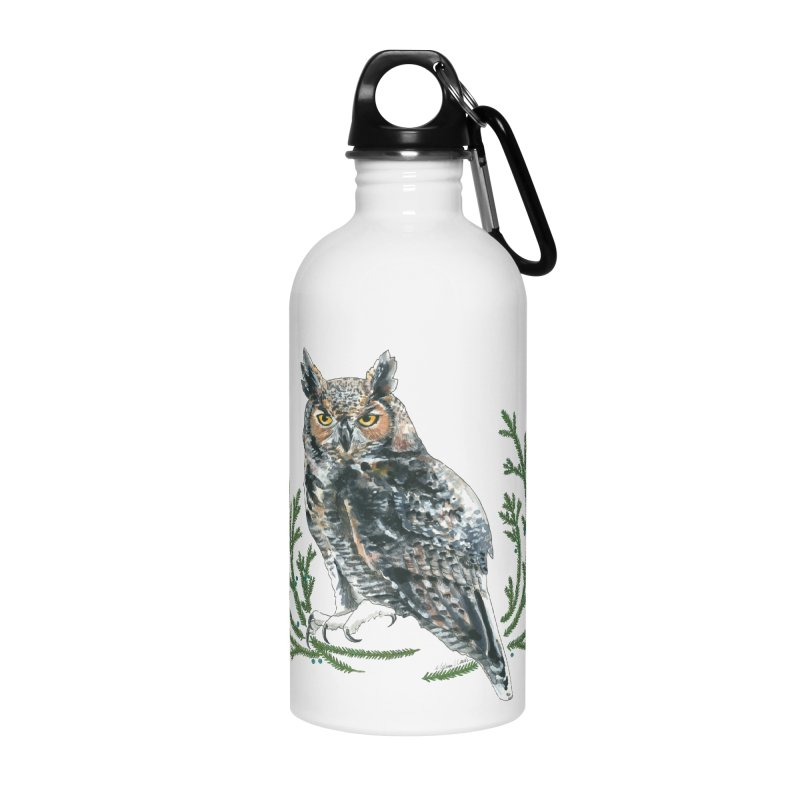 Great Horned Owl Accessories Water Bottle by mwashburnart's Artist Shop