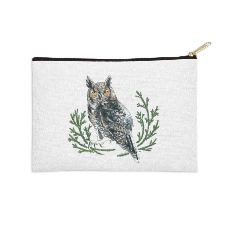 Great Horned Owl Accessories Zip Pouch by mwashburnart's Artist Shop