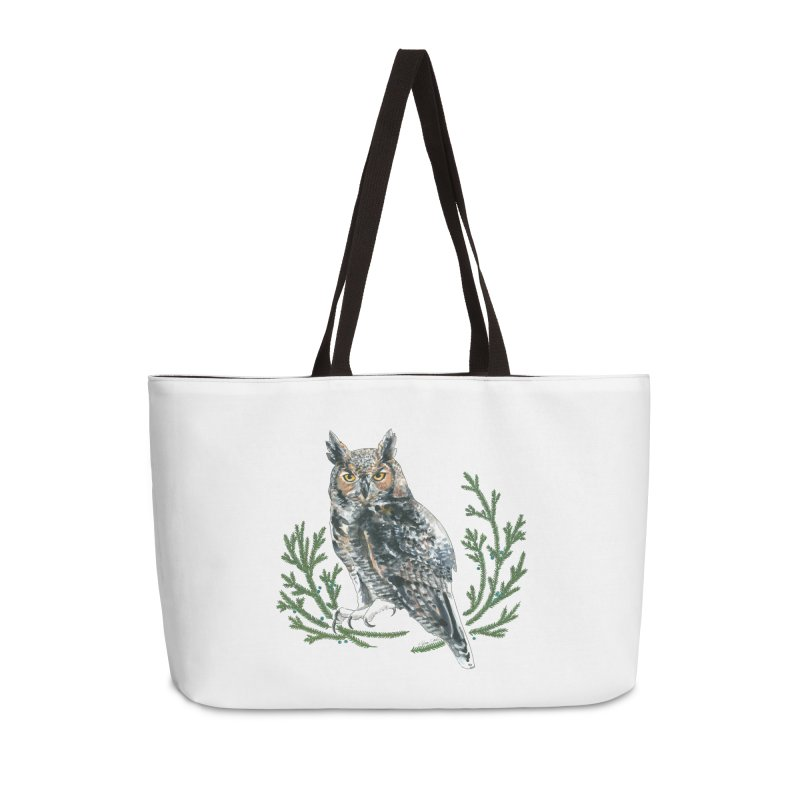 Great Horned Owl Accessories Weekender Bag Bag by mwashburnart's Artist Shop
