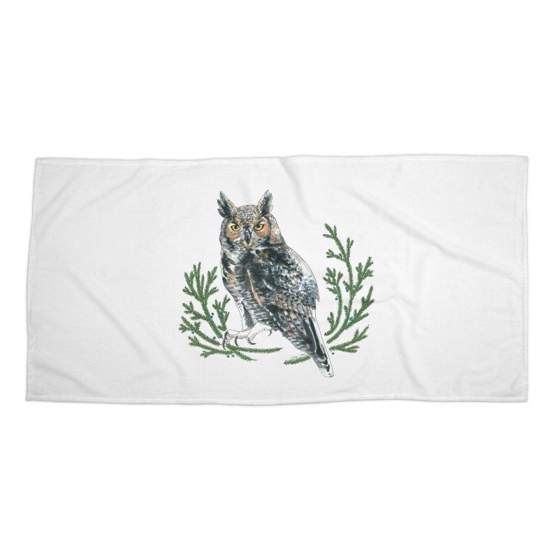 Great Horned Owl Accessories Beach Towel by mwashburnart's Artist Shop