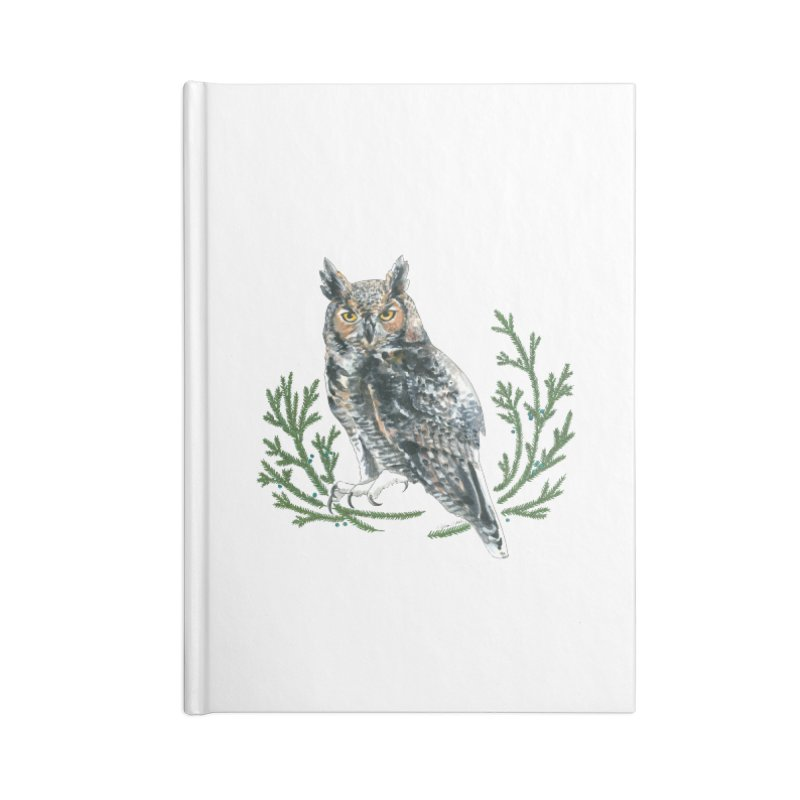 Great Horned Owl Accessories Lined Journal Notebook by mwashburnart's Artist Shop