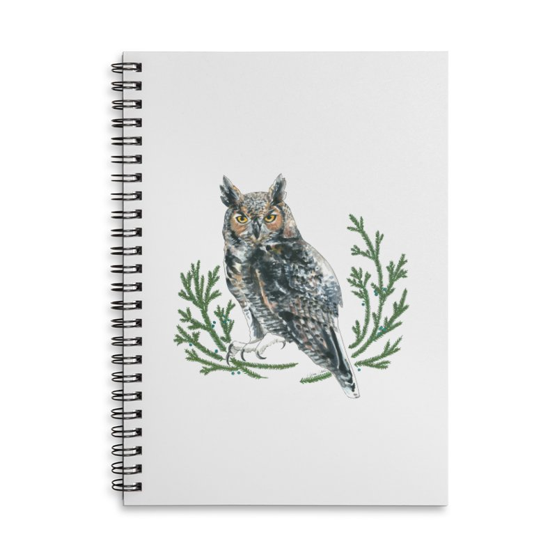 Great Horned Owl Accessories Lined Spiral Notebook by mwashburnart's Artist Shop