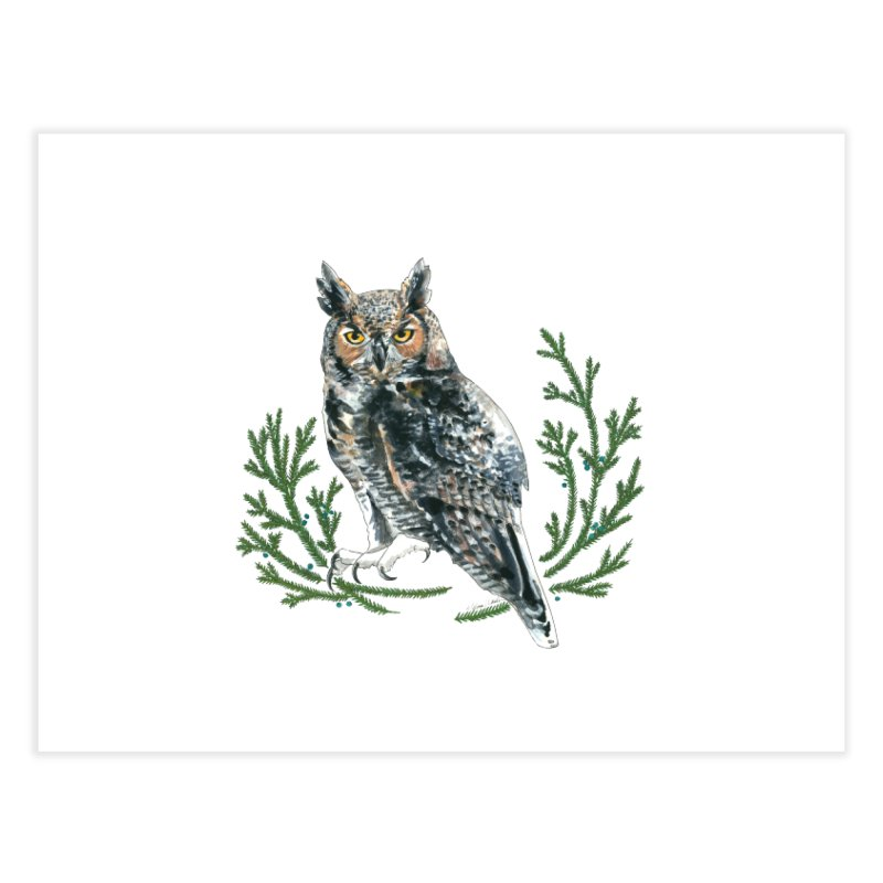 Great Horned Owl Home Fine Art Print by mwashburnart's Artist Shop
