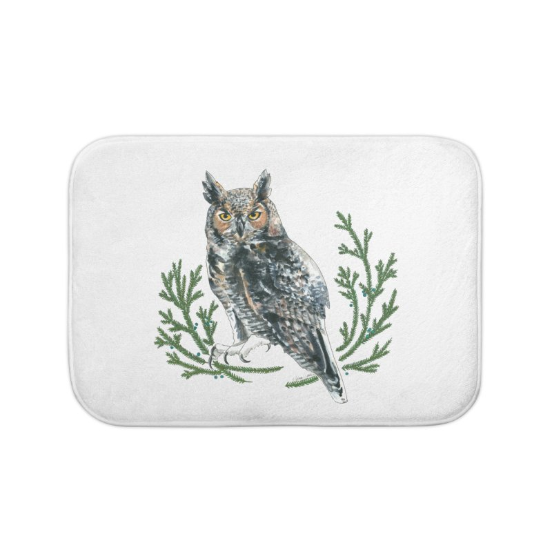 Great Horned Owl Home Bath Mat by mwashburnart's Artist Shop