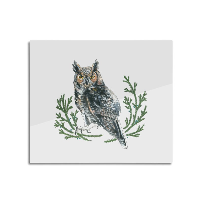 Great Horned Owl Home Mounted Aluminum Print by mwashburnart's Artist Shop