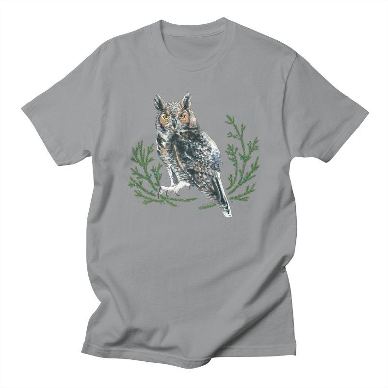 Great Horned Owl Women's Regular Unisex T-Shirt by mwashburnart's Artist Shop