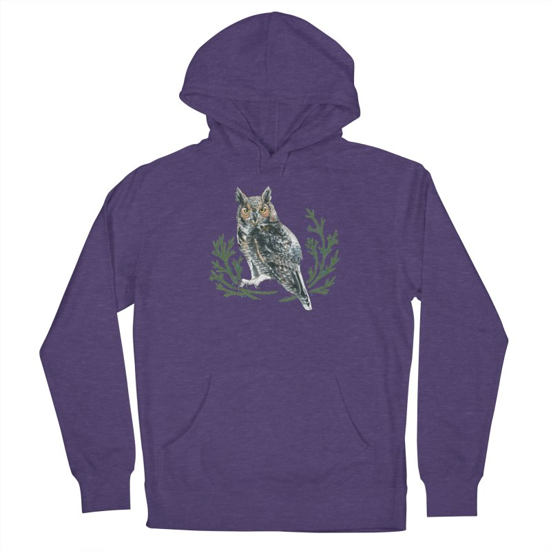 Great Horned Owl Women's French Terry Pullover Hoody by mwashburnart's Artist Shop
